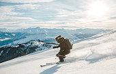 Woman skiing in Laax, Switzerland.