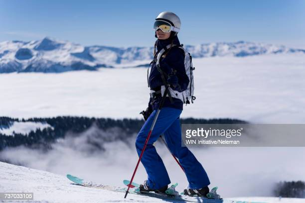 Woman skiing on the slope