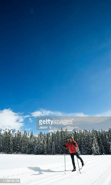 woman skiing - kananaskis country stock pictures, royalty-free photos & images