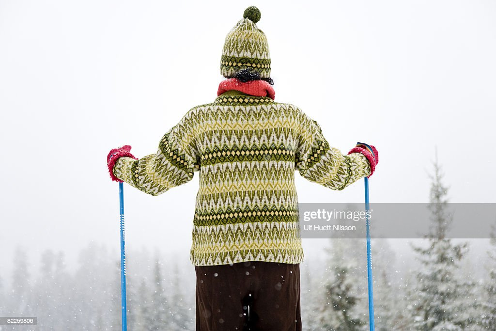 A woman skiing Sweden. : Stock Photo