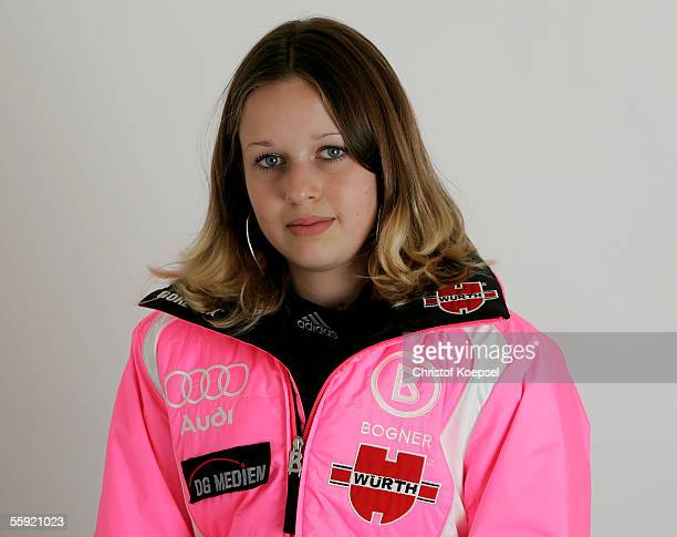 Woman skijumper Juliane Seyfarth poses during the DSV German Ski Association photocall on October 13 2005 in Schwabisch Hall Germany