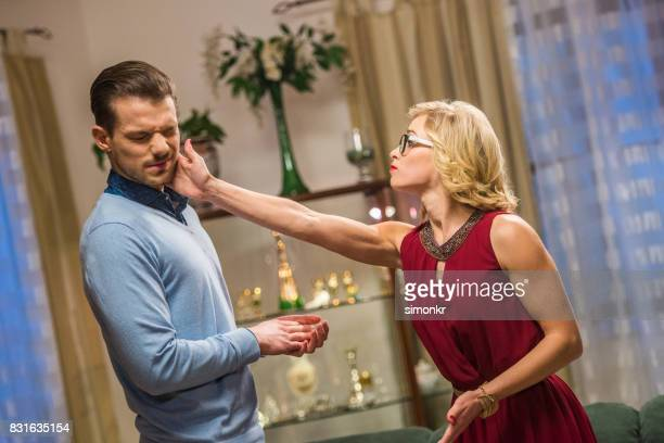 woman slapping - slapping stock pictures, royalty-free photos & images