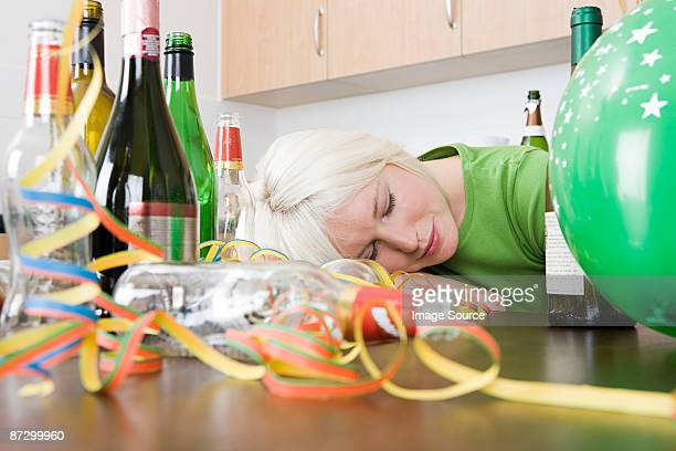 woman sleeping after a party - hangover after party stock pictures, royalty-free photos & images