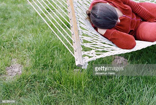 woman sleeping on hammock - jessamyn harris stock pictures, royalty-free photos & images