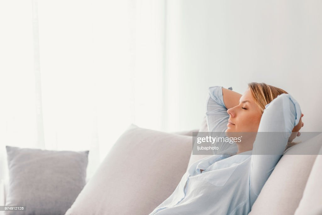 Woman sleeping on vacations in an apartment : Stock Photo