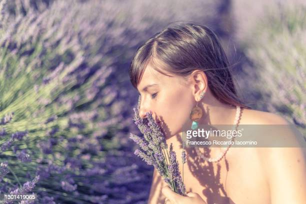 woman smelling flowers in the fields of valensole plateau, lavender in bloom. provence, southern france. - francesco riccardo iacomino france foto e immagini stock