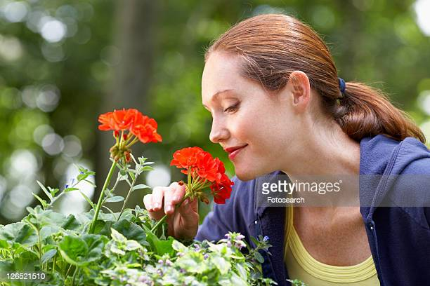Woman smelling Geranium flowers