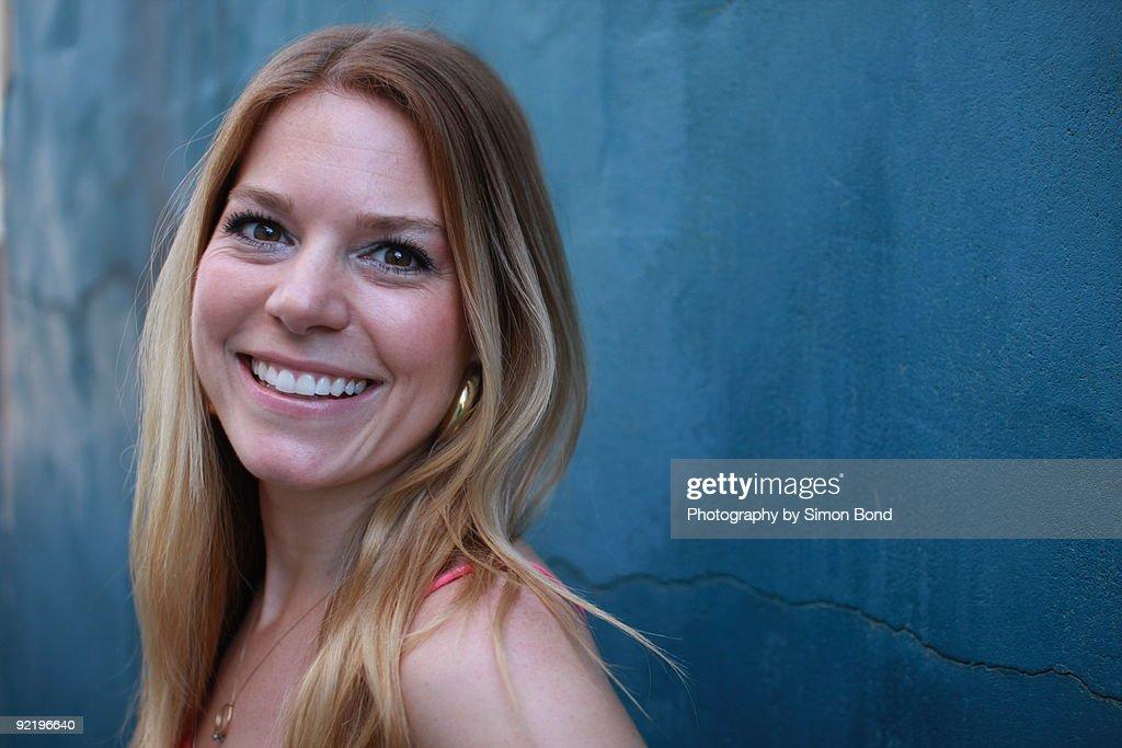 Woman smiles : Stock Photo
