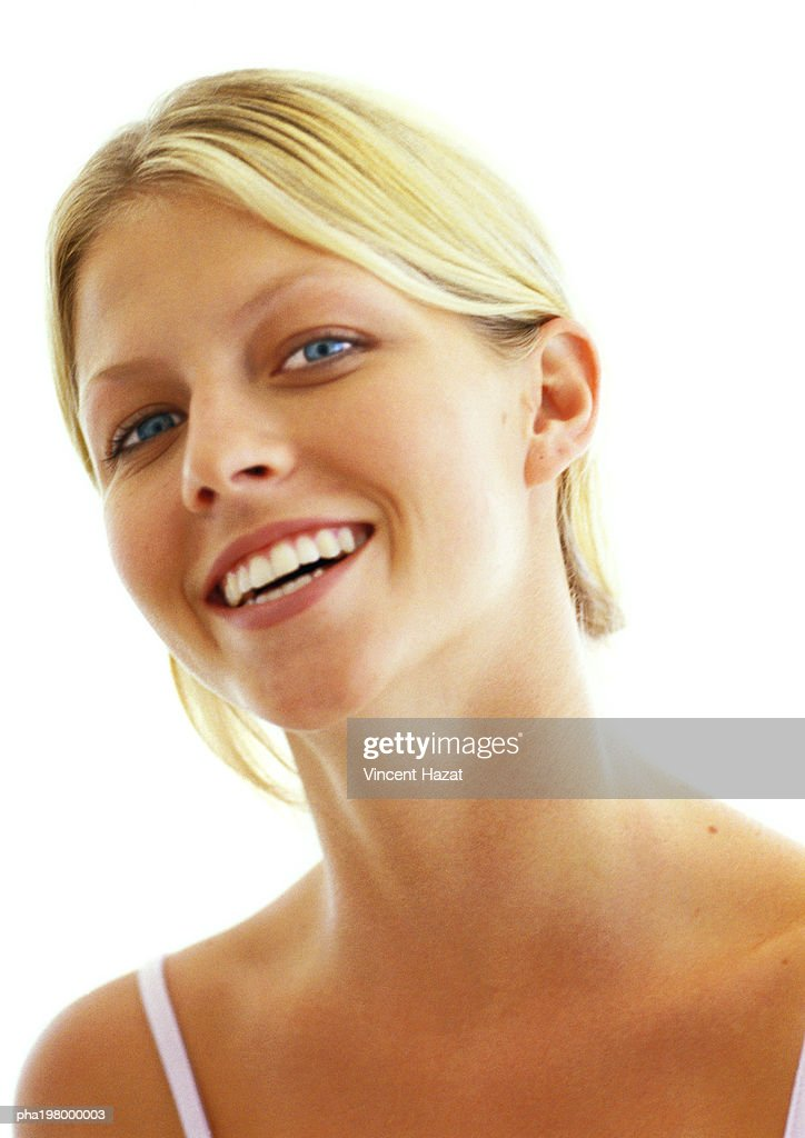 Woman smiling, close up portrait : Stockfoto