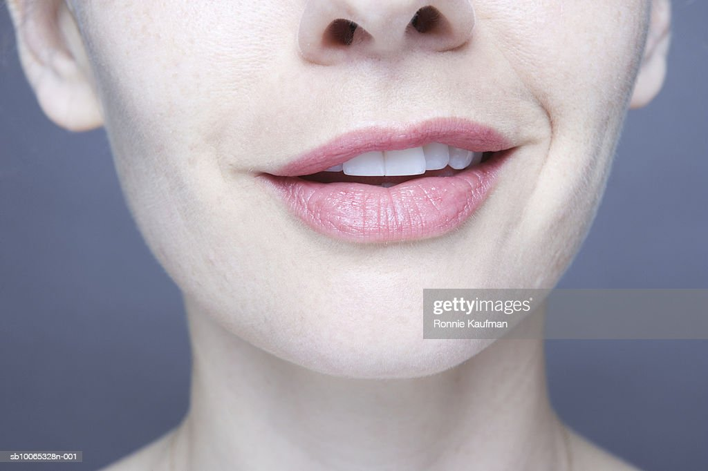 Woman smiling, close-up : Foto stock