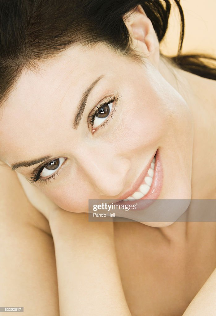 Woman smiling, close-up, portrait : Stock Photo