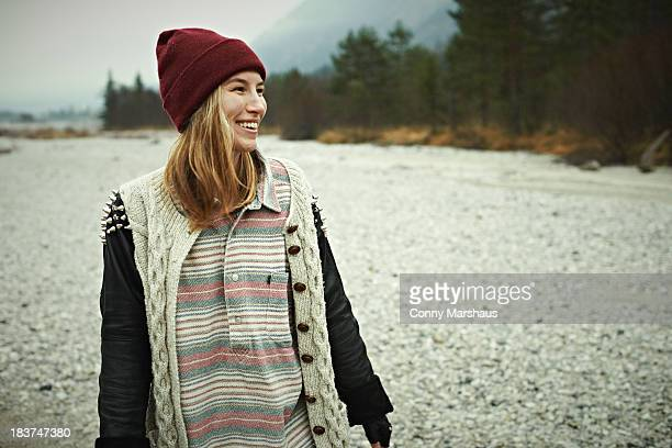 Woman smiling in forest