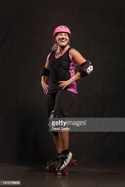 Woman smiling in skates portrait
