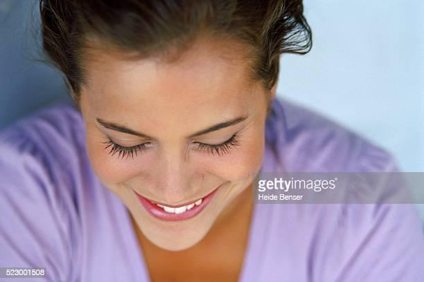 woman smiling - ピンクの頬 ストックフォトと画像