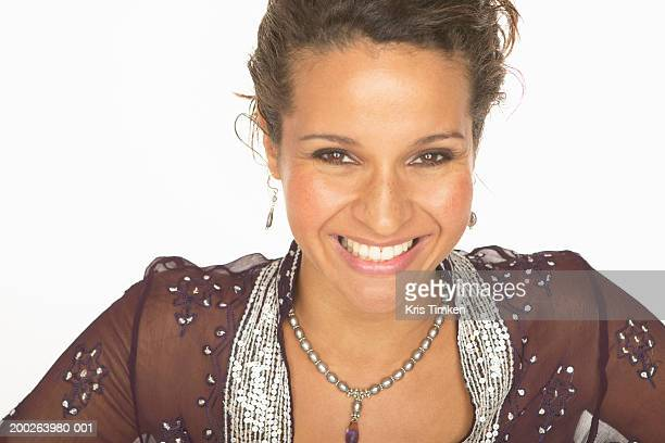 woman smiling, portrait - silver blouse stock pictures, royalty-free photos & images