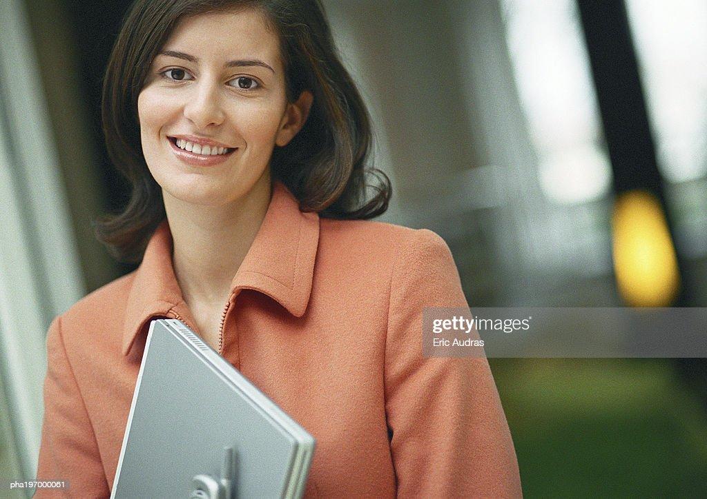 Woman smiling, portrait. : Stockfoto
