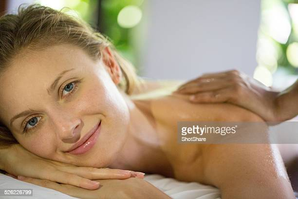 Woman smiling while massage