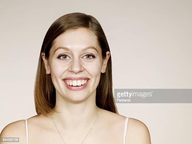 Woman smiling with big teeth