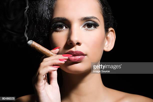 woman smoking a cigar - beautiful women smoking cigars stock photos and pictures