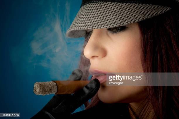 woman smoking cigar - beautiful women smoking cigars stock photos and pictures