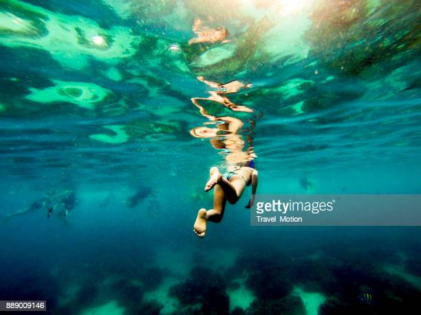 woman snorkeling in phuket, thailand - lagoon stock pictures, royalty-free photos & images