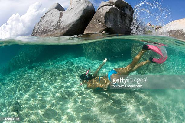 Woman snorkeling vacation
