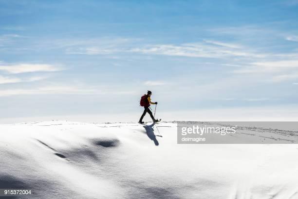 champ de neige femme snowshoeingon - suisse photos et images de collection