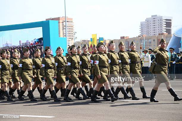 Woman soldiers parade during the celebrations of the anniversary of Kazakhstani Armed Forces in Astana Kazakhstan on May 7 2015