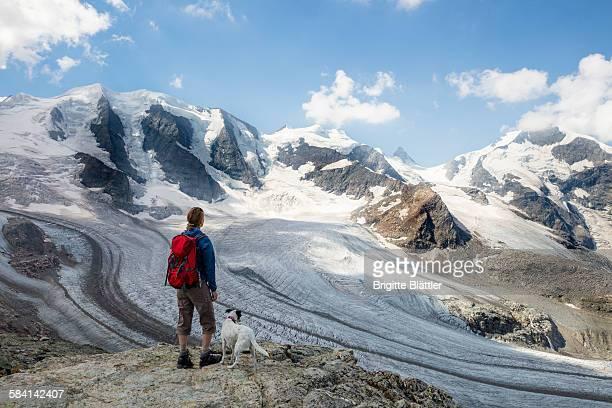 Woman, solo traveller hiking in Switzerland