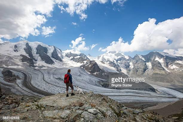 Woman, solo traveller hiking Switzerland