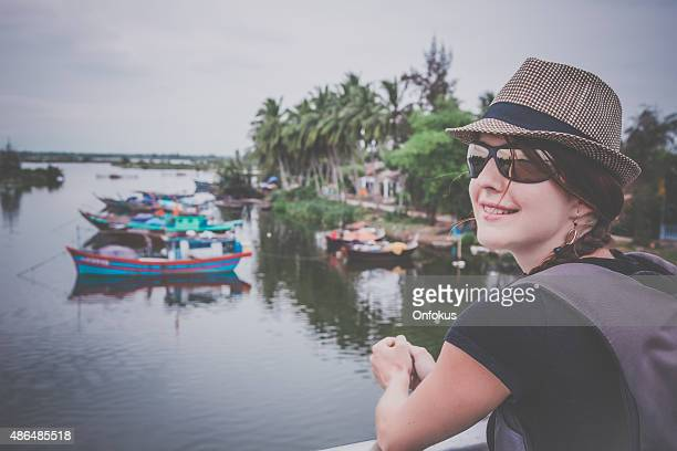 woman solo traveller in hoi an, vietnam - pretty vietnamese women stock photos and pictures