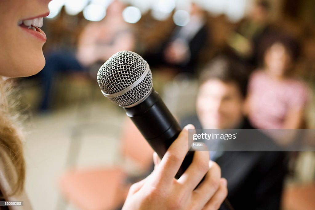 Woman Speaking at Conference : Stock-Foto