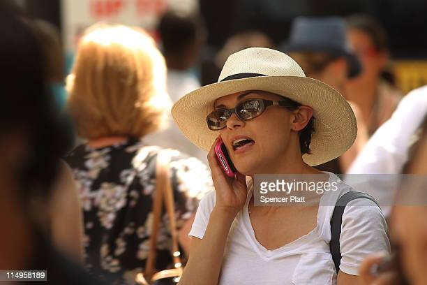 A woman speaks on her mobile phone on May 31 2011 in New York City In a new report by 31 scientists meeting at the World Health Organization's...