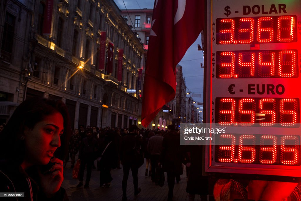 Turkish Lira Continues To Fall As EU Suspends Turkey's Membership Talks : News Photo
