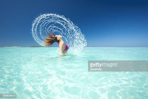 Frau Baden Wasser in der Lagune