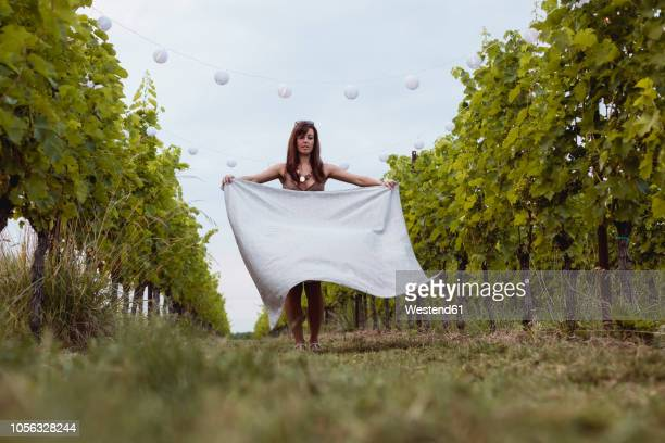 woman spreading picnic blanket in decorated vineyard - picnic blanket stock pictures, royalty-free photos & images