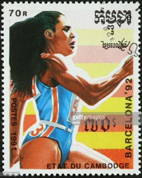 女性スプリンター、1992 年バルセロナ夏季オリンピック - 女子トラック競技 ストックフォトと画像