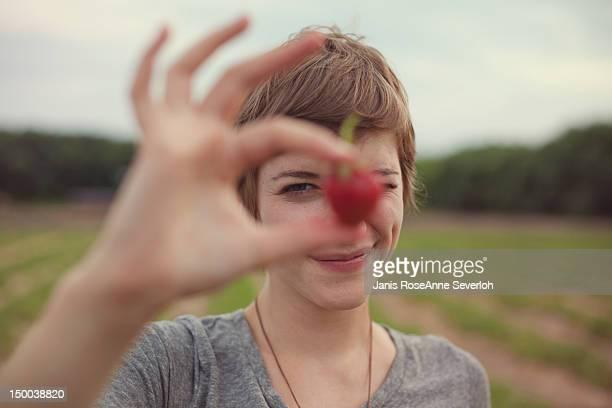 Woman squinting at camera