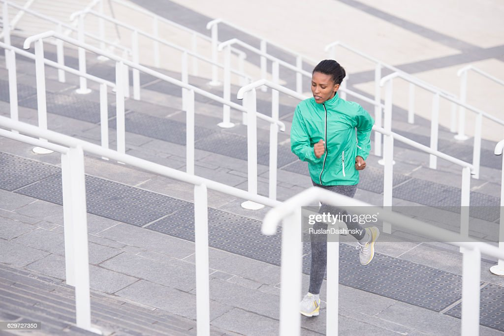 Woman stairs exercising. : Stock Photo