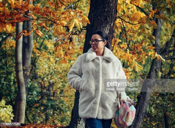 woman standing against tree trunk in forest during autumn - 30代の女性だけ ストックフォトと画像