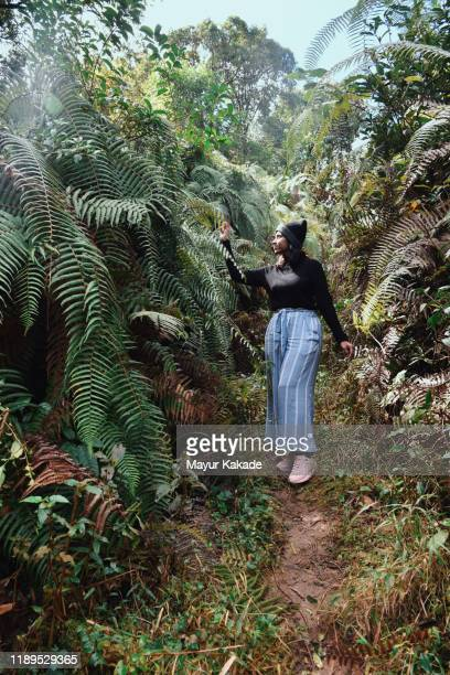 woman standing amidst the lush foliage - printed sleeve stock pictures, royalty-free photos & images