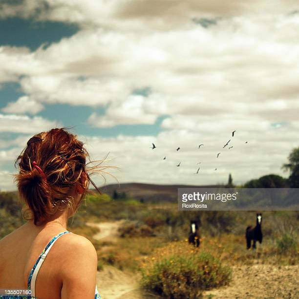 Woman standing and two horse running