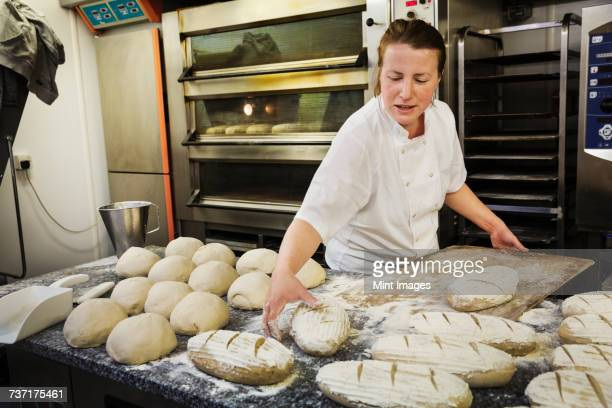 woman standing at a table, placing freshly baked loaves of bread on a wooden board. - artisan stock photos and pictures
