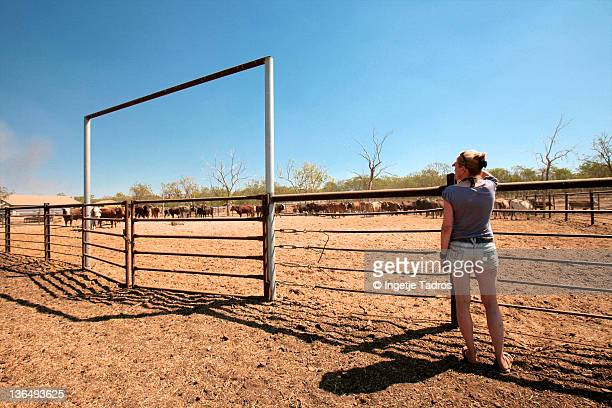 Woman standing at cattle yard at Cattle Station