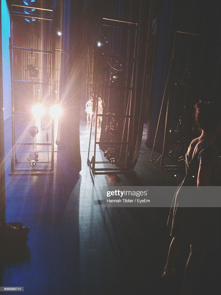 Woman Standing Backstage : Stock Photo