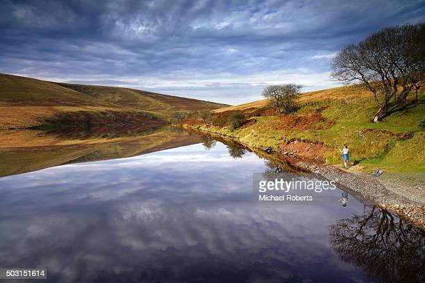 woman standing besdide the grwyne fawr reservoir in the black mountains, wales - crickhowell foto e immagini stock