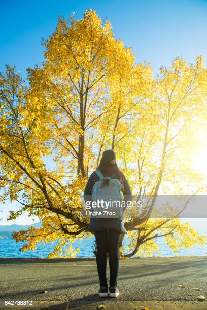 woman standing by a big tree
