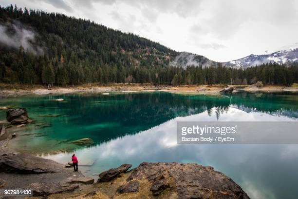 Woman Standing By Lake At Forest