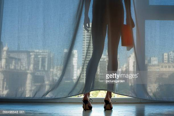 woman standing by window with book, low section, rear view - femme culotte photos et images de collection