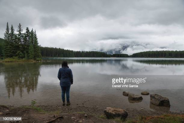 Woman standing in Banff National Park.